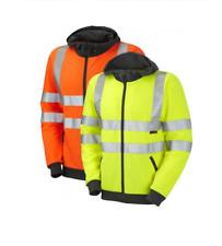 Leo Workwear SS02 Saunton Mens Hi Vis Hooded Sweatshirt Reflective Tapes