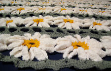 HANDMADE Crochet AFGHAN KNIT of DAISY FLOWER Quilt CHAIR Lap COUCH Throw BLANKET