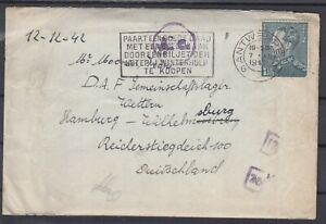 Belgium 1942 WWII ☀ Antwerpen to Germany ☀ A.c. Censored cover with letter  scan