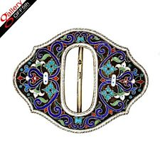 Russian Imperial OVCHINNIKOV Chased 84 Silver Gilded Belt Buckle Enamel FABERGE