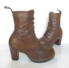 Ladies Dr Martens ' DARCIE ' Brown Lace-up high-heeled boots Size 5 Good Cond