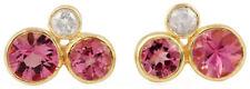 1.12 ct Tourmaline Gemstone 0.11 ct Diamond 7x10 MM 14K 18K Solid Gold Earrings
