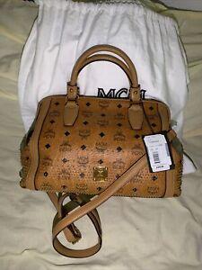 mcm studded satchel
