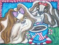 Shih Tzu Drinking Coffee by KSams 8x10 Art Print Collectible Signed by Artist