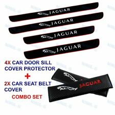 Black Rubber Car Door Scuff Sill Cover Panel Step Protector COMBO SET For Jaguar
