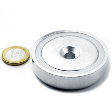 Super Magnete al Neodimio CSN-60 POTENZA 130 Kg FORO SVASATO + BASE IN ACCIAIO