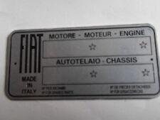Typenschild FIAT blanco Schild id plate targhetta placca 500 600 1100 850 s33