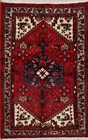 Tribal Geometric Hamadan Oriental Area Rug Wool Hand-Knotted Nomad Carpet 3'x5'