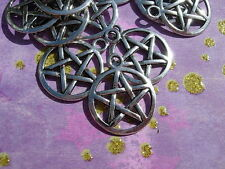 13 PENTACLES Stars Wiccan Loose MAGIC Pendants Charms Drops Silver finish