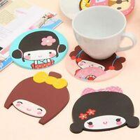 Mini Girl Rubber Silicone Mug Glass Coaster Tea Cup Mat Pad For Drink Mug Glass
