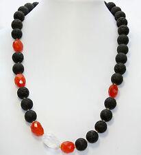 Lava Collar con CORNALINA Y CRISTAL ( único,collar,piedras preciosas,BISUTERÍA)