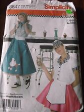 SEWING PATTERN S3847 POODLE SKIRTS SHIRT HAT COSTUMES ADULT SIZE 6 TO 12 UNCUT