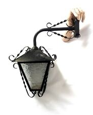 Vintage French Twisted Iron Bracket & Glass Wall Porch Light Lantern Entryway