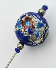 More details for chinese antique silver & enamel hat / hair pin c1890
