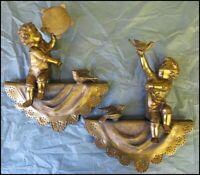 Antique Bronze Brass Architectural Sculpture Cherub Child Statues Shelf Mantel