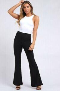 New Womens Rib Flare Trousers Wide Leg Trousers Sizes (UK 6-14)