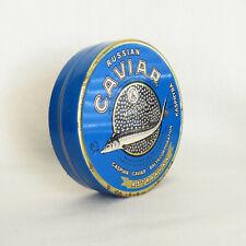 "5"" Vintage Rare Soviet Black Caviar tin, box large blue tin, Russian caviar"