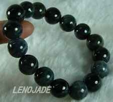Black Pearl Chinese Hetian Jade Jadeite Beads Bangle Bracelet Natural Gems DIY
