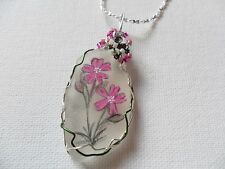 "Red campion wildflower necklace hand painted english sea glass 18"" silver chain"