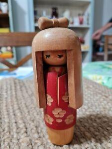 Kokeshi  Wood Japanese Doll Handpainted Retro Vintage  #2