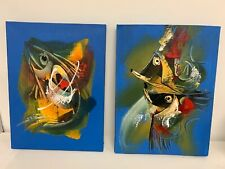 Abstract Fish Art, Oil On Canvas, Balinese