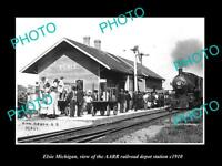 OLD LARGE HISTORIC PHOTO OF ELSIE MICHIGAN, THE RAILROAD DEPOT STATION c1910