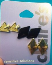Three Pairs Claire's Black Gold Diamond Rhinestone Triangle Shape Earrings New!