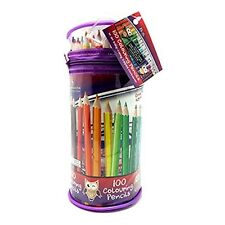 100 ADULT OR KIDS COLOURING PENCILS IN CLEAR PENCIL CASE - HIGH QUALITY NEW