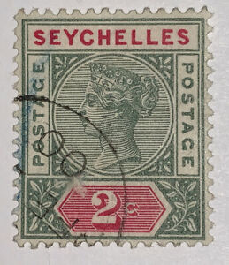 Travelstamps: 1892 SEYCHELLES STAMPS SG#9 Used, Ng, 2 cents, Light Cancel