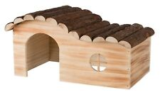 Natural Flamed Wood Hanna House with Curved Roof for Chinchilla, Guinea Pigs