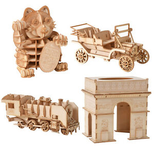 Jigsaw Puzzles 3D Wooden Model Self-Assembly Toy Educational For Kids Adult VJ