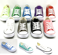 NEW LADIES WOMENS GIRLS FLAT LACE UP PLIMSOLLS PUMPS CANVAS TRAINERS SHOES SIZE