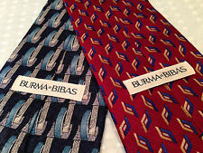 Lot 2 Vintage BURMA BIBAS Mens Silk Ties Neckties Navy Blue Burgundy Geometric
