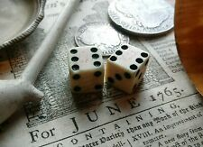 Pair 1765 Stamp tax act marked 1/2 inch Bone Dice 18th century Revolutionary War