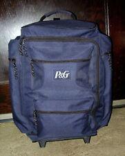 P&G Blue 4 Pocket Luggage Overnight Tote Bag w/ Wheels & Telescoping Handle