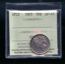 1865 Newfoundland 20 Cents ICCS Certified EF45   IC5