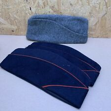 3 x Vintage Wool Garrision Side Cap Hat Salvation Army, Navy - Blue, Red & Grey