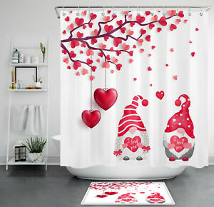 Valentine's Farmhouse Gnomes Love Tree Balloon Shower Curtain Set Bathroom Decor