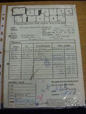 23/01/1978 Fulham: Marquee Studios-una ricevuta & Copia Carbone, per l'uso del