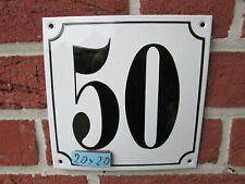 Hausnummer Mega Groß  Emaille Nr 50 schwarze Zahl weißer Hintergrund 20cmx20 cm