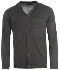 Pierre Cardin Mens Charcoal Cardigan Smart Knitted Buttoned Jumper Size XL