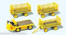 Preiser 17121 H0, Elektrokarre mit 3 Anhängern, gelb, Bausatz, Neu