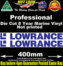 Lowrance Decals x2 HUGE 400mm Wide stickers for boat fishing tackle box fridge