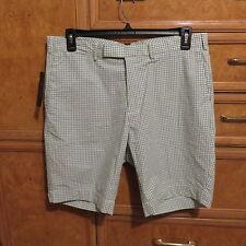 Men's  Polo Ralph Lauren Flat front shorts green white plaid size 36 NWT $89.50