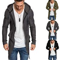 Jumper Long Hoodie Outwear Zip Cardigan Jacket Coat Casual Up Mens Sweater Slim