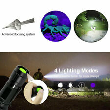 2 In 1 LED UV Flashlight Zoom 365nm Ultraviolet+ White Light Torch Detector Lamp
