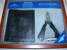 NEW IN WOODEN GIFT BOX  DOCKERS,  I.D. CREDIT CARD CASE & MULTI-TOOL LIGHTS UP