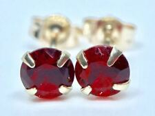 9K SOLID YELLOW GOLD ROUND RED RUBY SOLITAIRE STUDS EARRINGS