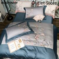 Chinoiserie Flower Embroidered  Cover Set Egyptian Cotton 4Pcs Bedding Set Sheet