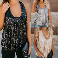 Women's Sequin Tank Top Blouse Paillette Camisole Bling Sleeveless Vest Tops Tee
